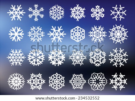 White snowflakes on a blue background. Vector illustration - stock vector