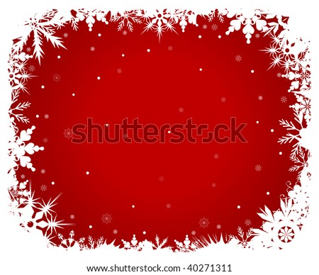 White snowflakes on a red background - stock vector