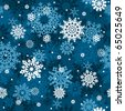 White snowflakes on blue background seamless pattern - vector background for continuous replicate. - stock vector
