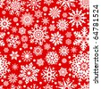 White snowflakes on red background seamless pattern for continuous replicate. - stock vector