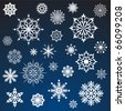White snowflakes vector set isolated on dark blue background. - stock vector