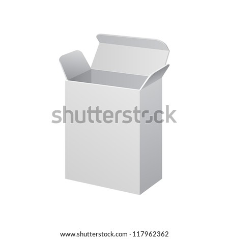 White Software Cardboard, Carton Package Box Open On White Background Isolated. Ready For Your Design. Product Packing Vector EPS10 - stock vector