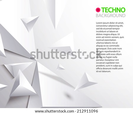 White space 3D triangles. Abstract geometric background  for your business presentation. Vector illustration - stock vector