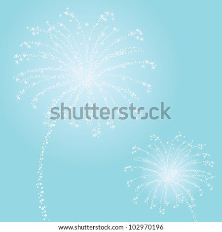 White Sparkly Fireworks on Blue Background - stock vector