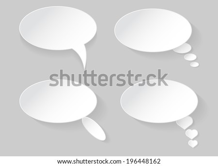 White speech bubble with shadow vector on gray background - stock vector
