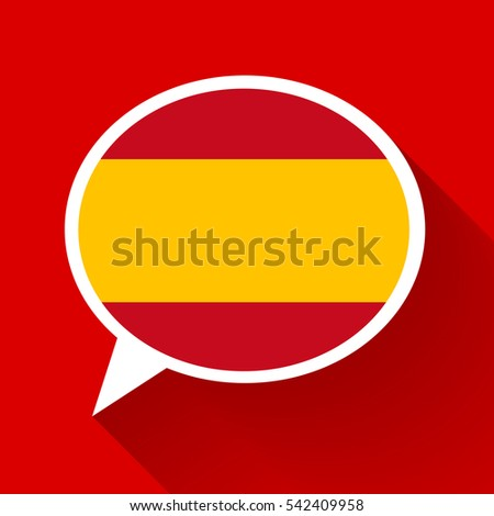 White speech bubble with spain flag and long shadow on red background spanish language conceptual