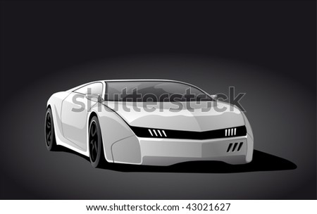 white sportscar on dark background, vector illustration - stock vector