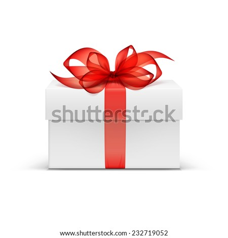 White Square Gift Box with Red Ribbon and Bow Isolated on Background - stock vector