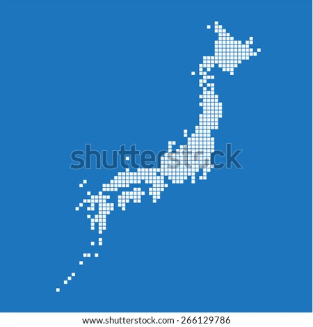 White square Japan map on blue background. Vector illustration.