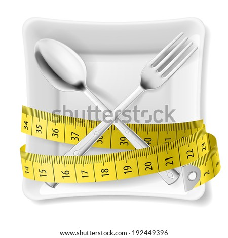 White square plate with crossed spoon and fork and tape measure around - stock vector