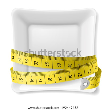 White square plate with tape measure around over white - stock vector