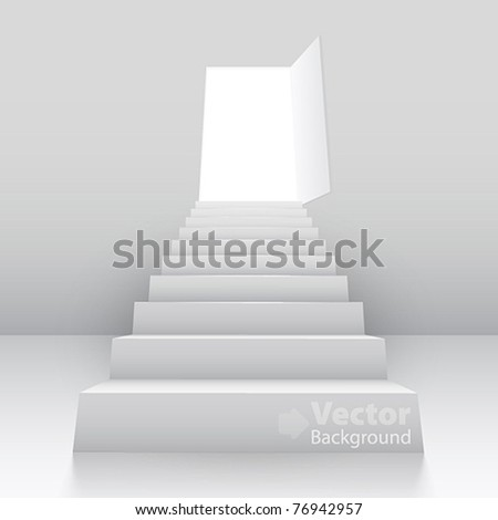 White staircase to open door. Vector illustration - stock vector