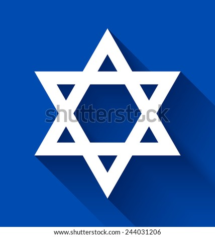 White Star of David with long shadow effect on blue background - stock vector