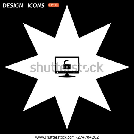 white star on a black background. Computer access is open. icon. vector design - stock vector