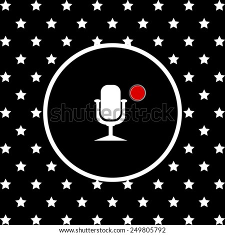 White stars and a white circle on a black background. Microphone. Voice recording, vector illustration, EPS 10 - stock vector
