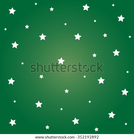 White stars with green background for Christmas festival. - stock vector