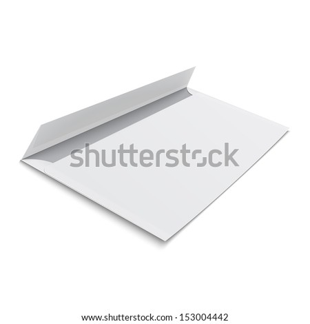 White stationery: blank opened envelope E65 size, on white background with soft shadows. Vector illustration. EPS10.