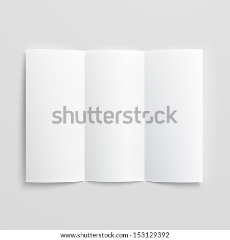 White stationery: blank trifold paper brochure on gray background with soft shadows and highlights. Vector illustration. EPS10. - stock vector