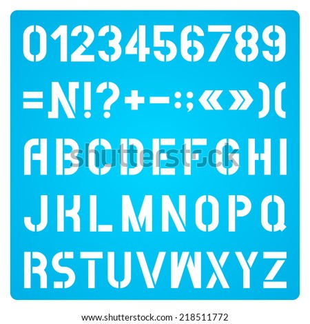 White Stencil Letters And Numbers On Blue Background, Alphabet - stock vector