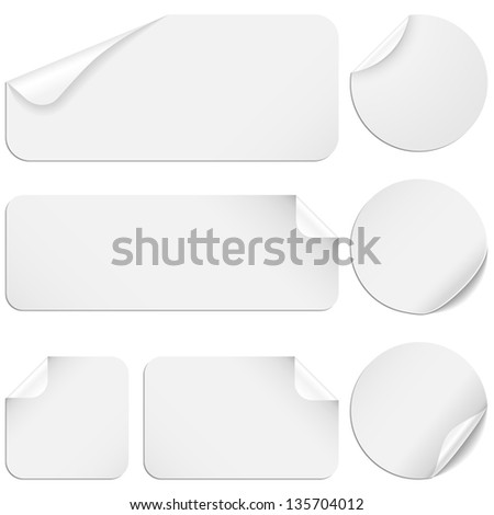 White Stickers - Set of white paper stickers isolated on white background. - stock vector