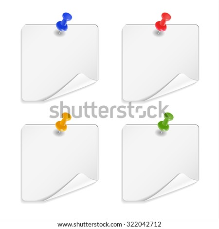 White stickers with buttons. Note paper on white background.