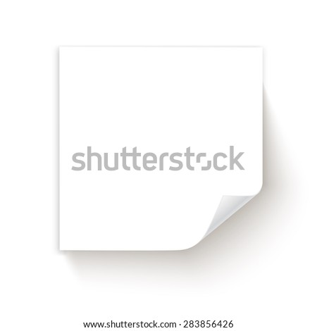 White sticky note isolated on white background. Vector illustration - stock vector