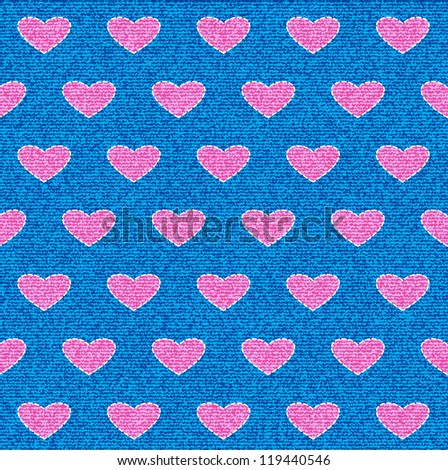 White stitch as a love symbol on blue jeans denim. Seamless background. - stock vector