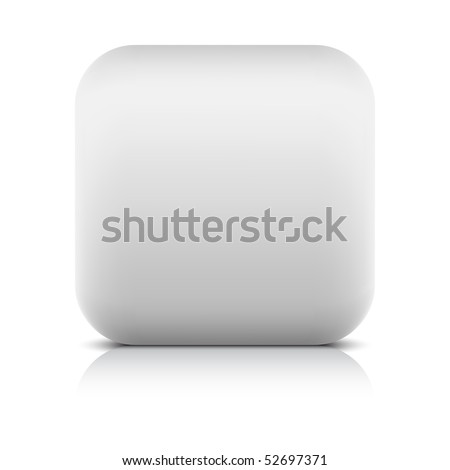 White stone matted blank web button with shadow and reflection on white - stock vector