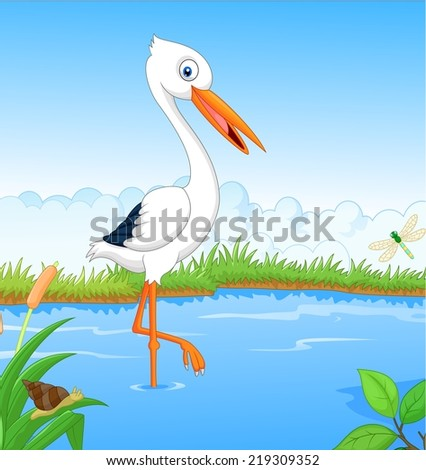 White stork searching food  - stock vector