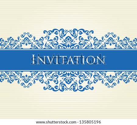 White striped background with vintage ornament in blue - stock vector