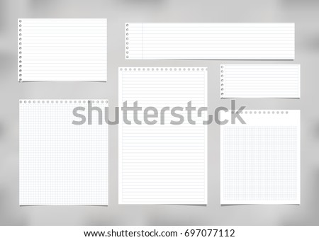 White striped, ruled, squared note, copybook, notebook paper stuck on grey background.