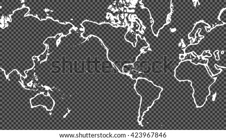 White stylish vector picture of planisphere over transparent background - stock vector