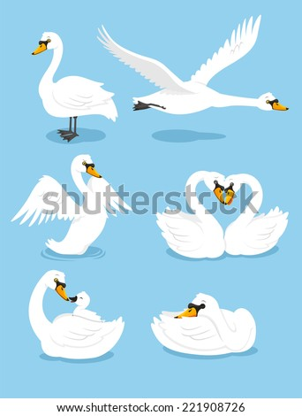 White Swan Wing Water Animal Bird Elegance Grace Set, vector illustration cartoon. - stock vector