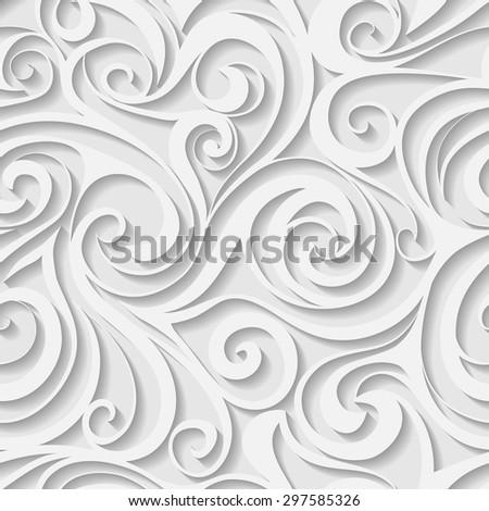 White swirls abstract seamless pattern. Vector illustration. - stock vector