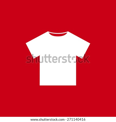 white T-shirt icon, vector illustration. Flat design style - stock vector