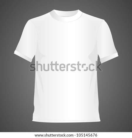 White T-shirt, isolated on black background, vector illustration - stock vector