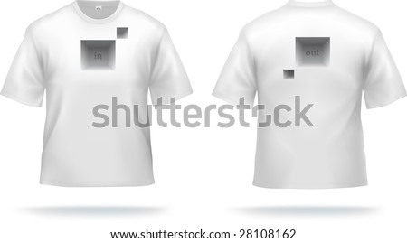 White T-shirt with abstract design (easy to remove). VECTOR, contains gradient mesh elements. - stock vector
