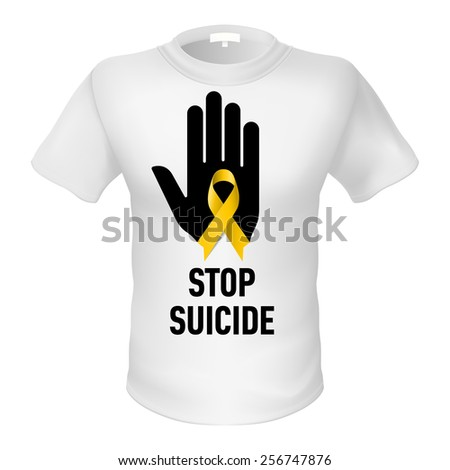 White t-shirt with sign stop suicide. Black hand with yellow ribbon - stock vector