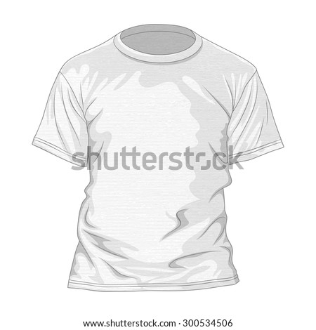 White t-shirt with texture. Design template of tee. Vector illustration - stock vector