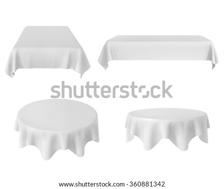 White tablecloth set isolated on white - stock vector