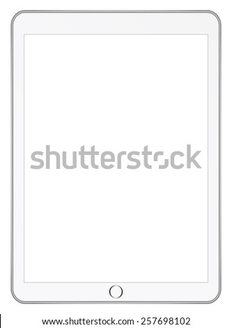 White Tablet Computer In iPad Air Style Isolated On White - stock vector