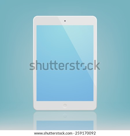 White Tablet Computer with blue display and reflection.  Illustration Similar To iPad. - stock vector