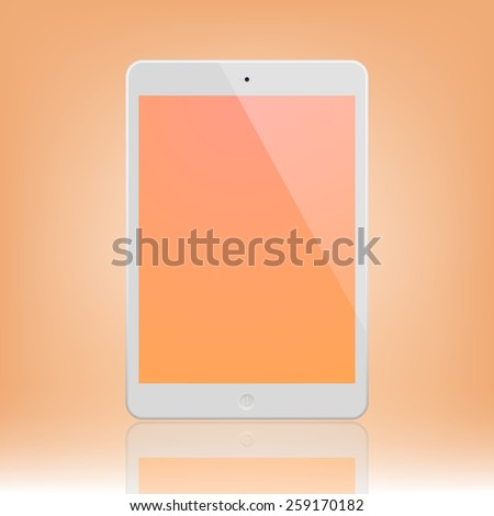 White Tablet Computer with orange display and reflection.  Illustration Similar To iPad. - stock vector