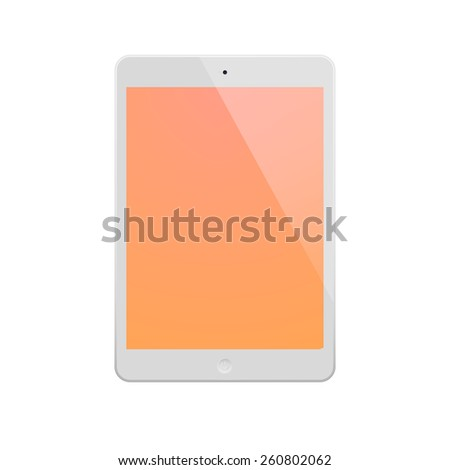 White Tablet Computer with orange display. Illustration Similar To  iPad. - stock vector