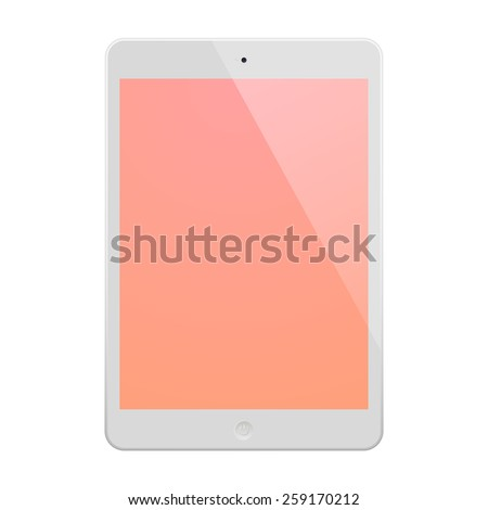 White Tablet Computer with peach display.  Illustration Similar To iPad. - stock vector