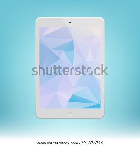 White Tablet Computer with triangle background.  Illustration Similar To iPad. - stock vector