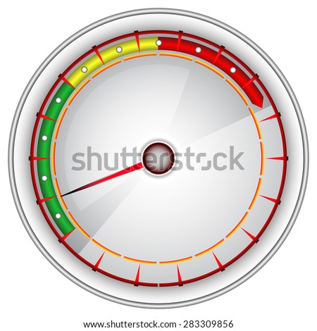 White tachometer on an isolated background. - stock vector