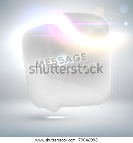 White Talking bubble. Futuristic minimal design with huge space for information. Fully editable. - stock vector