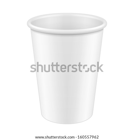 White Tall Disposable Paper Cup. Container For Coffee, Java, Tea, Cappuccino, Dessert, Yogurt, Ice Cream, Sour Sream Or Snack. Ready For Your Design. Product Packing Vector EPS10  - stock vector
