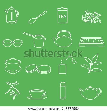 white tea outline icons on green background eps10 - stock vector